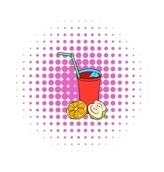 Glass of sangria icon comics style vector image
