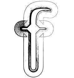 Grunge Font letter f vector image