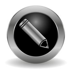 Metallic pencil button vector image vector image
