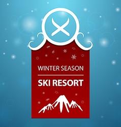 Red logotype winter season ski resort vector image vector image