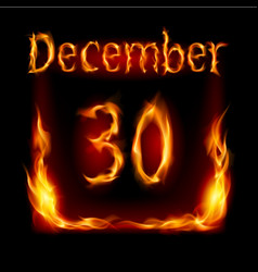 thirtieth december in calendar of fire icon on vector image vector image