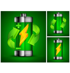 battery recycling green background 10 v vector image