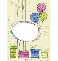 Celebration card with balloons and gifts vector