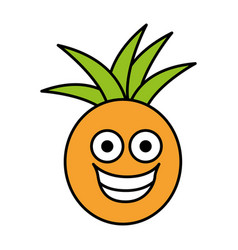 color kawaii fruit pineapple happy icon vector image vector image