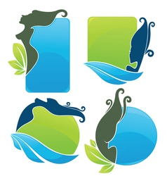 eco beauty stickers vector image vector image
