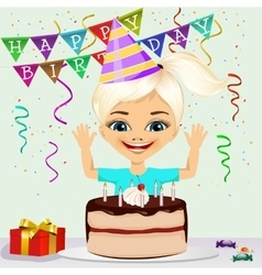 girl celebrating his birthday smiling vector image