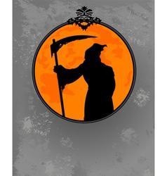 halloween grim reaper silhouette vector image