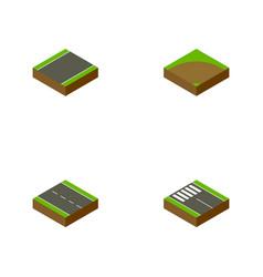 Isometric road set of sand strip single-lane vector