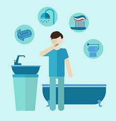 Personal care teeth care colored bathroom flat vector image