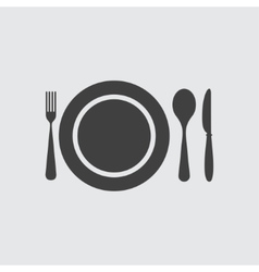 Plate spoon knife and fork icon vector image vector image