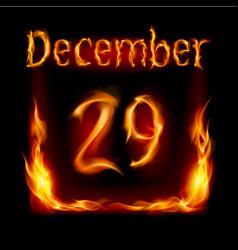 twenty-ninth december in calendar of fire icon on vector image
