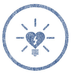 heart electric bulb rounded fabric textured icon vector image