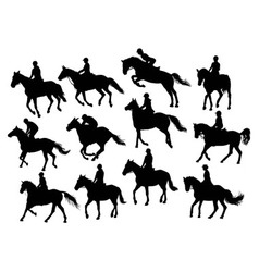 Set horse rider silhouettes vector image