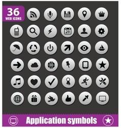 application symbols big set silver color vector image vector image