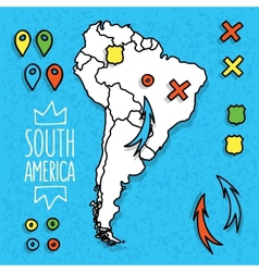 Cartoon style hand drawn travel map of South vector image