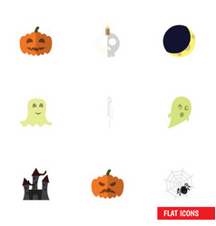 flat icon celebrate set of pumpkin spinner gourd vector image vector image