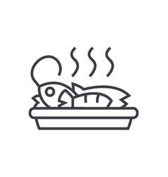 fried fish lunch line icon sign vector image vector image