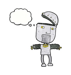 funny cartoon robot with open head with thought vector image vector image