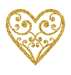 Ornamental glitter valentines day heart on a white vector