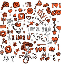 Red and black doodles for Valentines day vector image