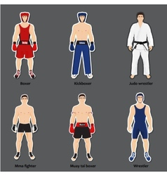 Set of different fighters in sports equipment vector image