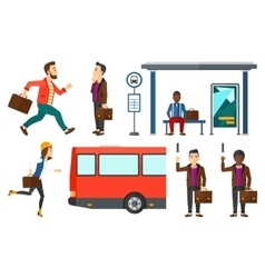 Transportation set with people traveling vector image vector image