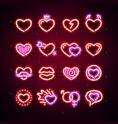 valentine icons with glitter vector image