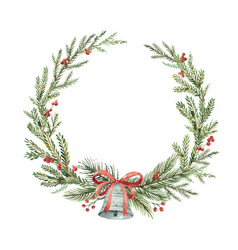 watercolor christmas wreath with bell and vector image vector image