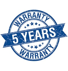 5 years warranty grunge retro blue isolated ribbon vector
