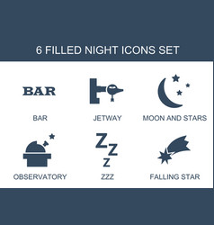 6 night icons vector image