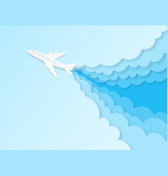 Airplane in blue sky flight plane in vector