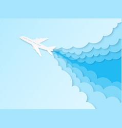 Airplane in blue sky flight plane vector