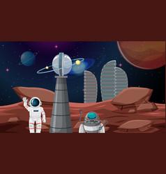 Astronaut in space city vector