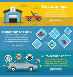Auto car repair banner horizontal set flat style vector