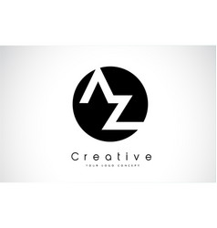 az letter logo design inside a black circle vector image