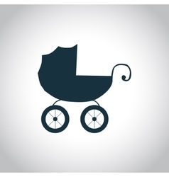 Baby carriage simple icon vector