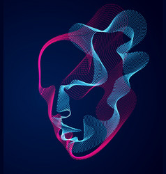 Beautiful human face portrait artistic man vector
