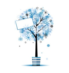 Beautiful winter tree in pot for your design vector image