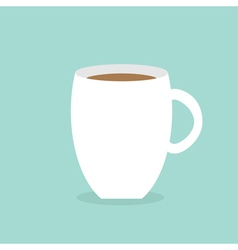 Big coffee cup mug Blue background Flat modern vector image