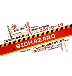 Biohazard word tag cloud typography on a white vector