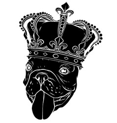black silhouette hand drawn pug cute dog king vector image