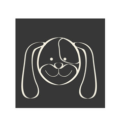 black square picture of dog animal vector image