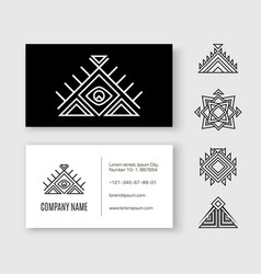 black white pattern business card ethnic element vector image