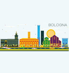 bologna skyline with color landmarks and blue sky vector image