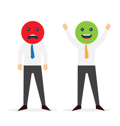 businessman holding smile and sad mask vector image
