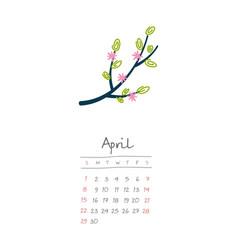 Calendar 2018 months april week starts sunday vector