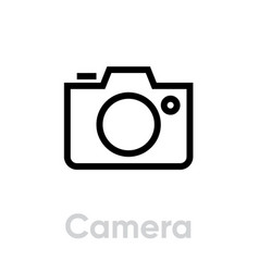 camera icon flat linear design editable vector image