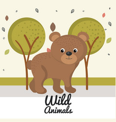 Cartoon bear wild animal with falling leaves vector