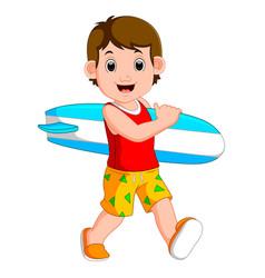 Cartoon little kid holding surfboard vector