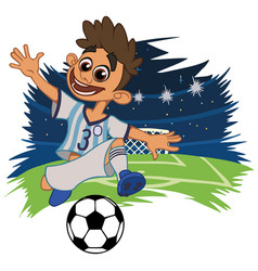 cheerful boy in sportswear plays football vector image